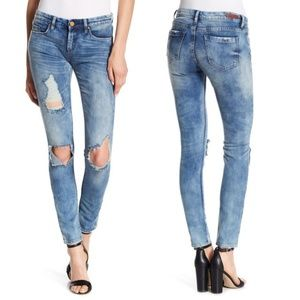 Destructed Skinny Blank NYC Jeans Acid Wash
